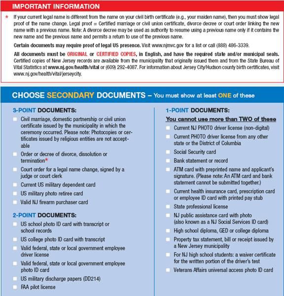 nj drivers license suspension points